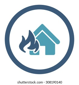 Fire Damage vector icon. This flat rounded symbol uses cyan and blue colors and isolated on a white background.