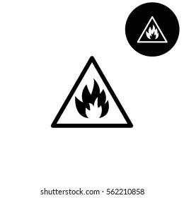 Fire danger sign  - white vector icon