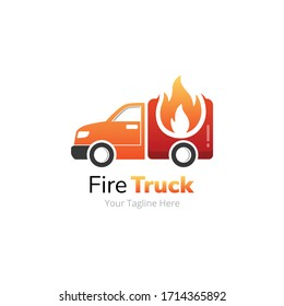 Fire Delivery Truck Logo Design