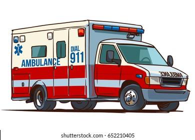 Fire Department Ambulance Truck. Cartoon illustration