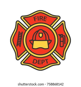 Fire department badge color icon. Firefighting emblem with helmet, ladder and extinguisher. Isolated vector illustration