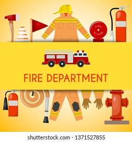 Fire department banner vector illustration. Firefighting equipment and tools firehose hydrant, alarm, bollard and extinguisher. Fireman uniform with helmet and gloves.