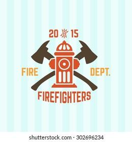 Fire department colored vector label, fire hydrant and two crossed axes