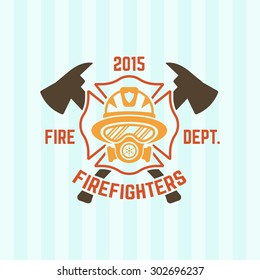 Fire department colored vector label, firefighter in a gas mask and two crossed axes