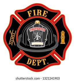 Fire Department Cross Black Helmet is an illustration of a fireman or firefighter Maltese cross emblem, with a black firefighter helmet and badge containing an empty space for your text.