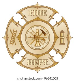 Fire Department Cross Vintage Gold is an illustration of a vintage fire department Maltese cross in a gold color with firefighter logo inside.