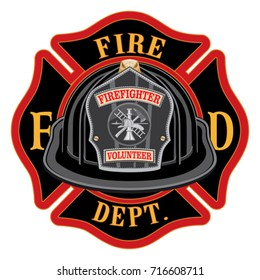 Fire Department Cross Volunteer Black Helmet is an illustration of a fireman or firefighter Maltese cross emblem with a black volunteer firefighter helmet and badge in the foreground.