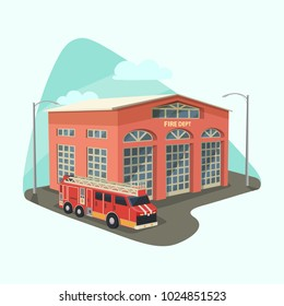 Fire department or dept, firehouse with truck or rescue car, emergency transport or safety vehicle. Building or construction station for firefighter. Architecture and city institution, cityscape theme