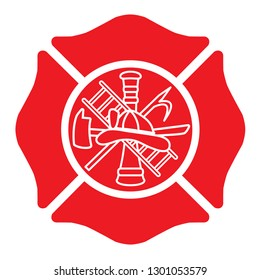 Fire Department Emblem with Center Design St Florian Maltese Cross Red with White Outline