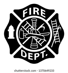 Fire Department Emblem St Florian Maltese Cross Black with White Outline