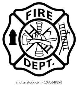 Fire Department Emblem St Florian Maltese Cross White with Black Outline