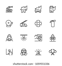Fire Department or Firefighter line icon set. Editable stroke vector, isolated at white background