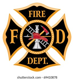 Fire Department or Firefighters  Maltese Cross Symbol is six color art that can be easily edited or separated for print or screen print. Each major element is on a separate layer.