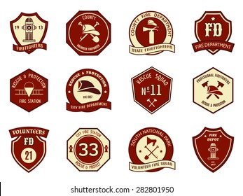 Fire department logo and badges set. Symbol protection, shield emblem, axe and fireman, hydrant and helmet. Vector illustration