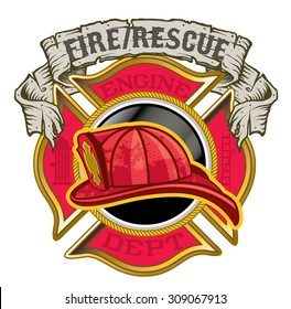 Fire Department maltese cross with helmet and banner