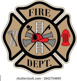 Fire Department Maltese cross logo symbol icon illustration with hydrant, helmet, ladder and axe. Illustrator eps vector graphic design.