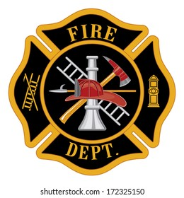 Fire department or firefighter�s Maltese cross symbol illustration. In the five color vector eps version each major element is on a separate layer for your convenience.
