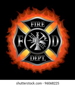 Fire Department or Firefighter's  Maltese Cross Symbol in silver with flaming background illustration.