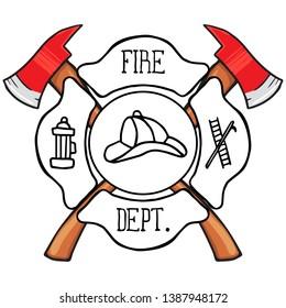 Fire Department Maltese Cross Vintage fire department Maltese. Vector illustration
