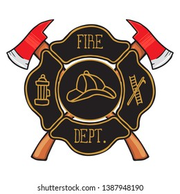 Fire Department Maltese Cross Vintage fire department Maltese. Vector illustration