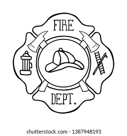 Fire Department Maltese Cross Vintage is an illustration of a vintage fire department Maltese cross with firefighter logo inside. Vector illustration