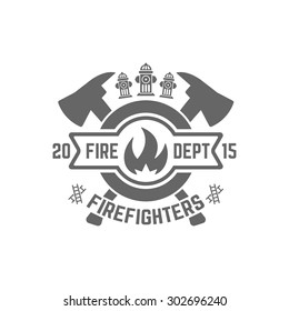 Fire department monochrome vector label on white background, flame in a circle and two crossed axes