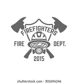 Fire department monochrome vector label on white background, firefighter in a gas mask and shield