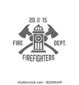 Fire department monochrome vector label on white background, fire hydrant and two crossed axes