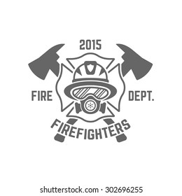 Fire department monochrome vector label on white background, firefighter in a gas mask and two crossed axes