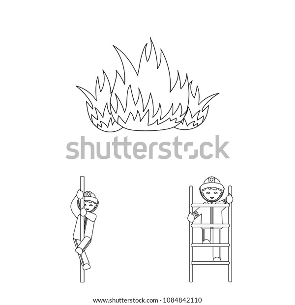 Fire Department outline icons in set collection for design. Firefighters and equipment vector symbol stock web illustration.