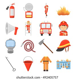 Fire department set icons in cartoon style. Big collection of fire department vector illustration symbol.