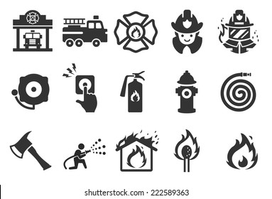 Fire Department vector illustration icon set. Included the icons as firefighter, alarm, match, flame, fire extinguisher, fire truck and more.