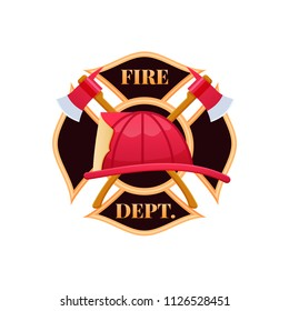 Fire dept logo icon. Plastic red fire helmet with protective glass. Helmet firefighter service officer, the concept of eliminating and fighting fire and smoke. Vector illustration isolated.