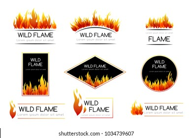 Fire. Design collection. Emblems and badges with decorative elements
