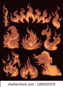 Fire. Design set. Hand drawn engraving. Editable vector vintage illustration. Isolated on dark background. 8 EPS