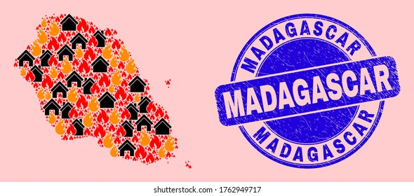 Fire disaster and houses combination Graciosa Island map and Madagascar dirty stamp imitation. Vector collage Graciosa Island map is formed of random burning houses.