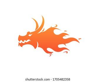 fire dragon logo,dragon head with flame Logo design