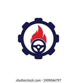 Fire driver gear shape concept logo vector design template. Car steering wheel burning fire logo icon vector.
