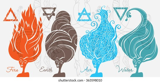 Fire, Earth, Air, Water. Esoteric illustration.