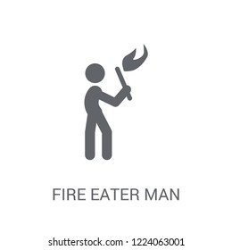 Fire eater man icon. Trendy Fire eater man logo concept on white background from Circus collection. Suitable for use on web apps, mobile apps and print media.