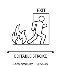Fire emergency exit door with human linear icon. Evacuation plan. Thin line illustration. Contour symbol. Vector isolated outline drawing. Editable stroke