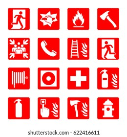 Fire emergency icon set. Building security / protection sign collection. Fire fighter, hydrant and other equipment. Vector illustration.