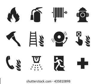 Fire emergency icons set // Black & White