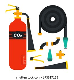 Fire emergency icons set. Vector illustration