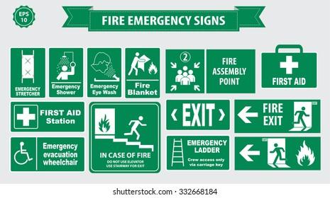Fire Emergency signs (Emergency stretcher, shower, eye wash, fire blanket, first aid, evacuation wheel chair, elevator, stairway, ladder)