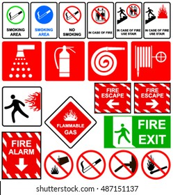 Fire emergency signs. Vector illustration.