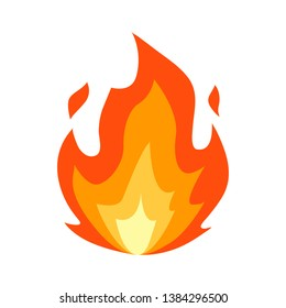 Fire emoji flames icon isolated on white background. Vector illustration