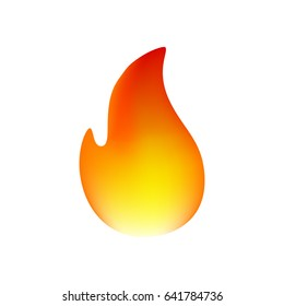 Fire Emoticon on White Background. Isolated Vector Illustration