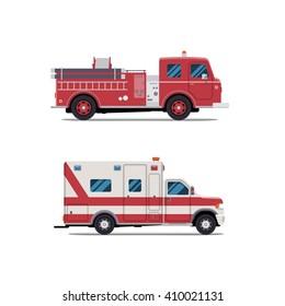 fire engine, ambulance, Firetruck, vector flat illustration