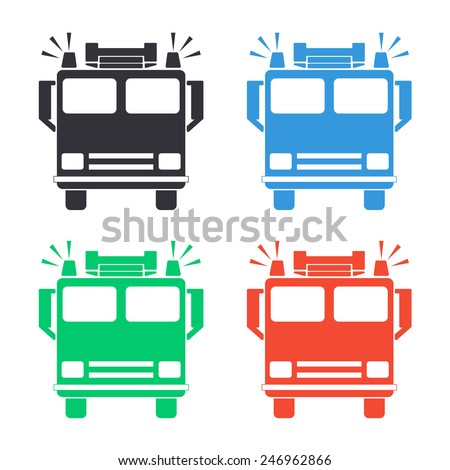 fire engine icon colored vector illustration stock vector royalty rh shutterstock com